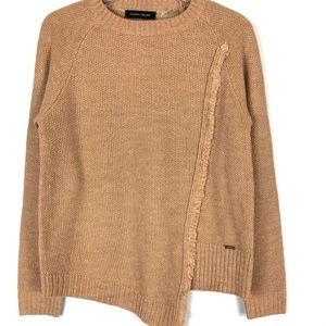 Ivanka Trump fringe overlay detail tan sweater